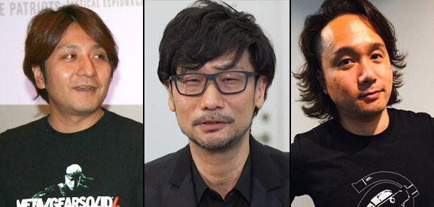 Productor Ken Imaizumi (Izquierda), director Hideo Kojima (Centro) y artista Yoji Shinkawa (derecha). Son las cabezas principales de la nueva Kojima Productions
